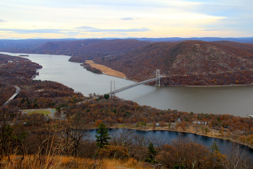 Bear Mountain suspension bridge from atop Bear Mountain