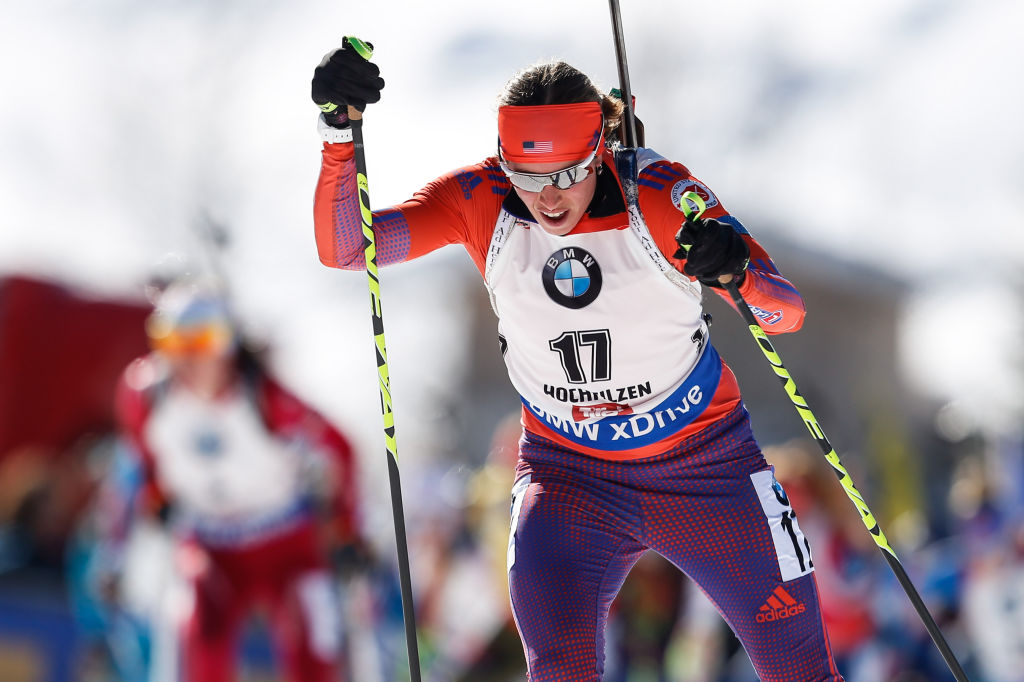 Susan Dunklee of USA wins the silver medal during the IBU Biathlon World Championships