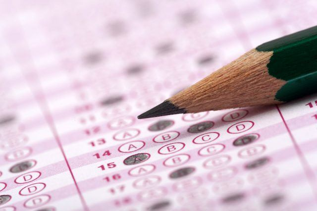 An exam with a pencil.