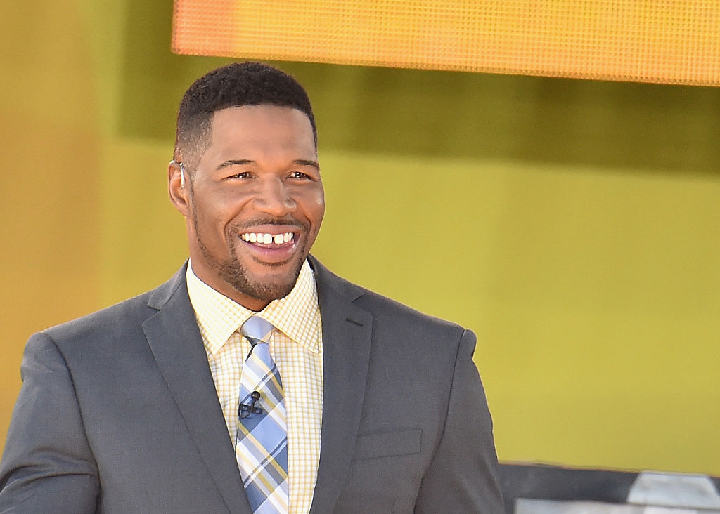 "Former professional football player and ""Good Morning America"" Co-host Michael Strahan interacts with fans on ABC's ""Good Morning America"""