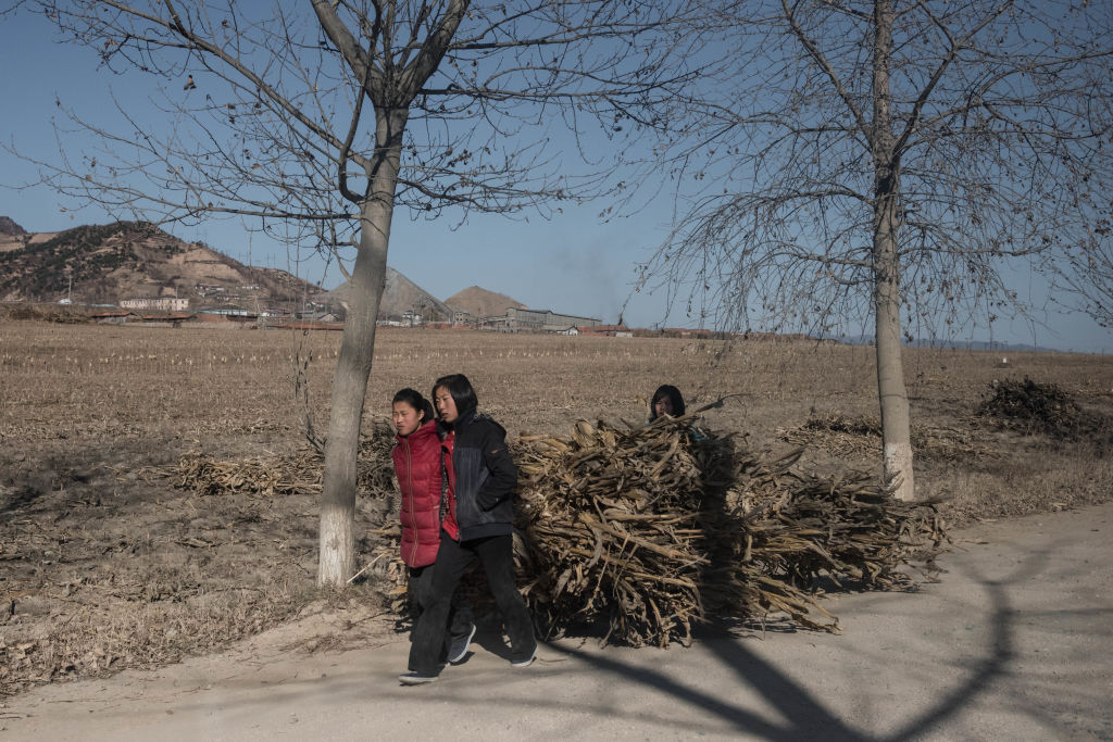 Children pull a cart loaded with wood along a road near Kiliju on North Korea's northeast coast