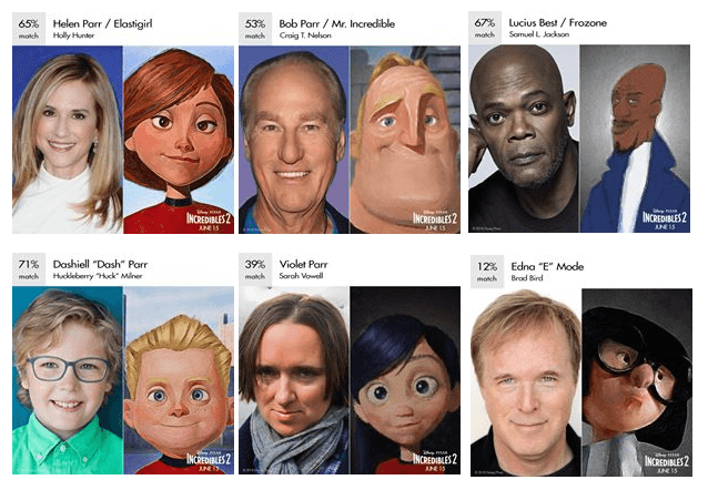 Side by side photos of the cast of Incredibles 2