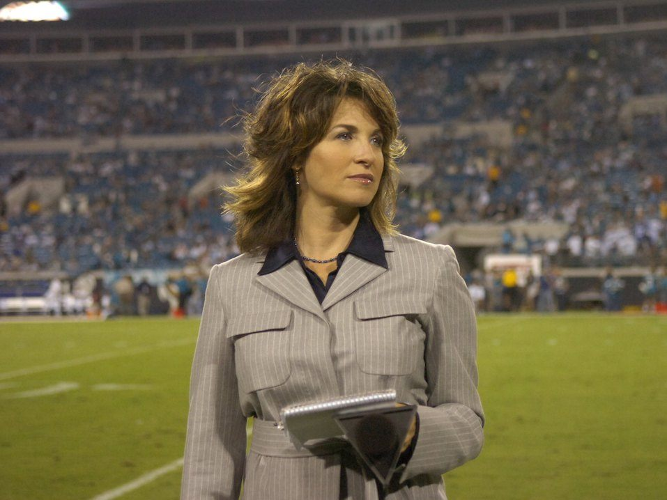 ESPN's Suzy Kolber checks the sidelines as the Jacksonville Jaguars host the Indianapolis Colts