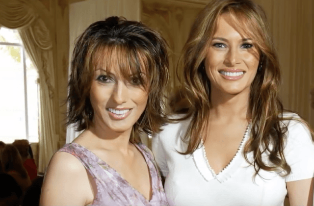 Ines and Melania smiling as they pose together for a photo.