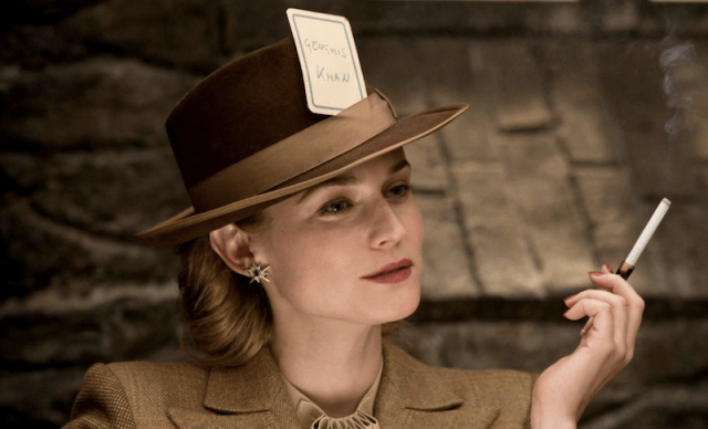 Diane Kruger smoking a cigarette in 'Inglorious Basterds'.