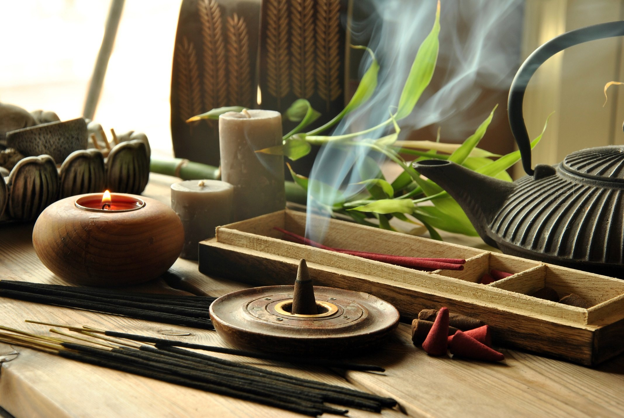 Close-up of assorted incense products representing Zen idea