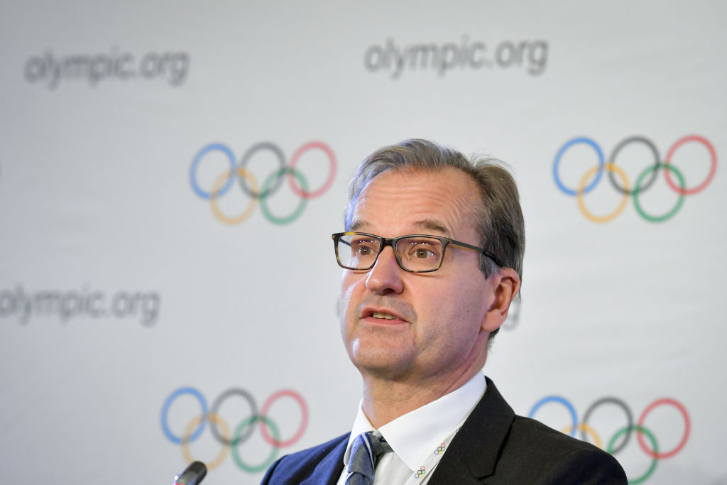 International Olympic Committee (IOC) spokesman Mark Adams attends a press conference during an IOC executive meeting