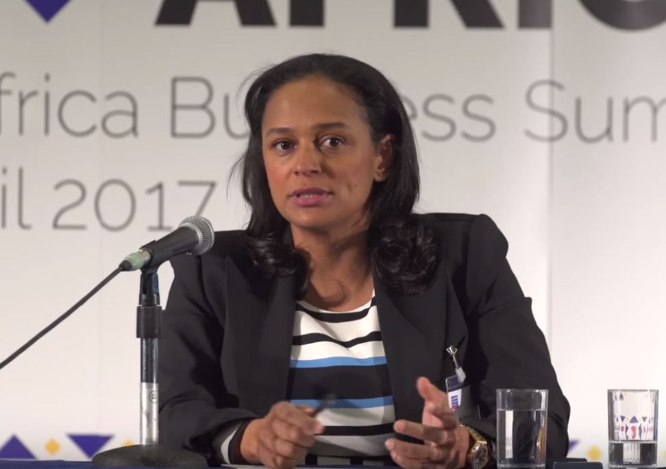 At an African conference, Isabel Dos Santos addresses a crowd.
