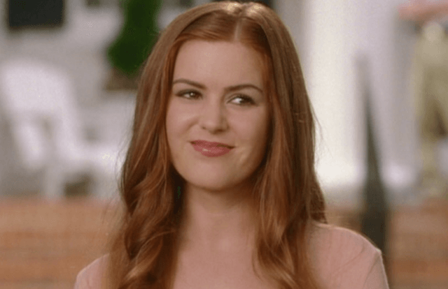 Isla Fischer smiles and looks straight ahead in 'Wedding Crashers'.