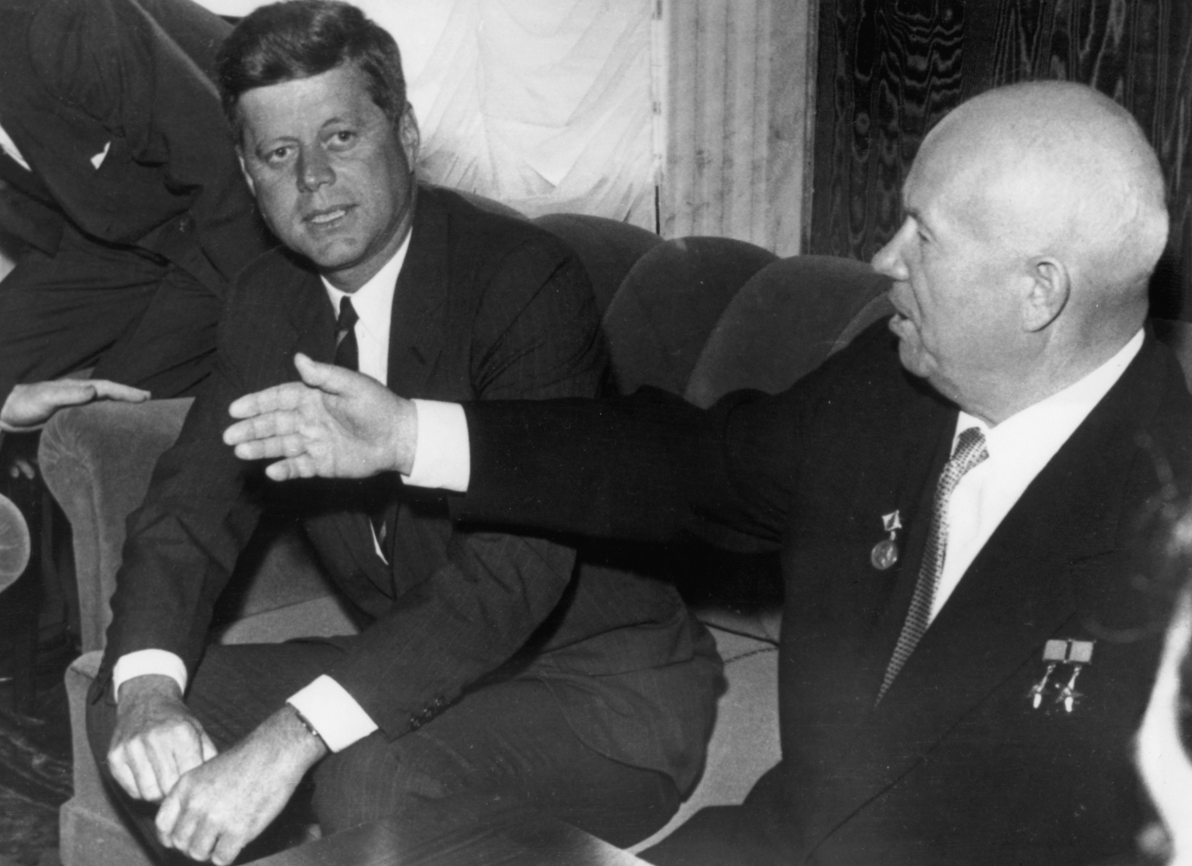 Nikita Khrushchev and John F. Kennedy