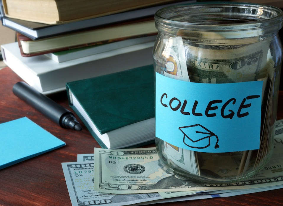 Jar with label college and money