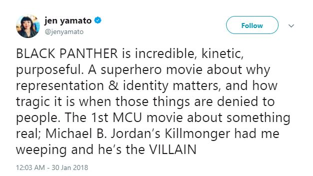Jen Yamato thought highly of Michael B. Jordan as Killmonger.