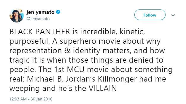 Jen Yamato thought highly of Michael B. Jordan as Killmonger.