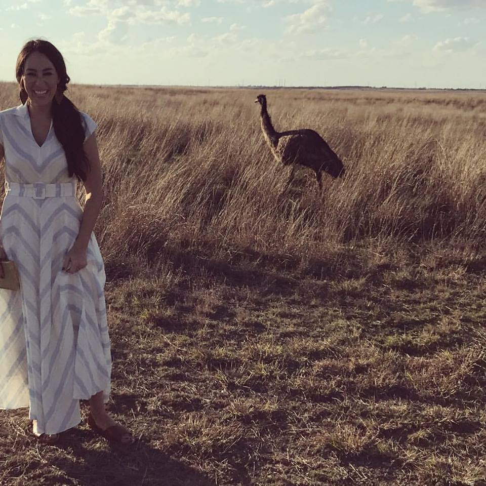 Joanna-Gaines with a large bird and long dress