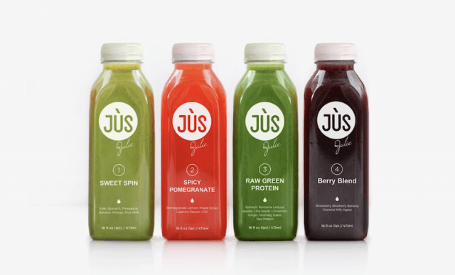 Juices lined up in a row.