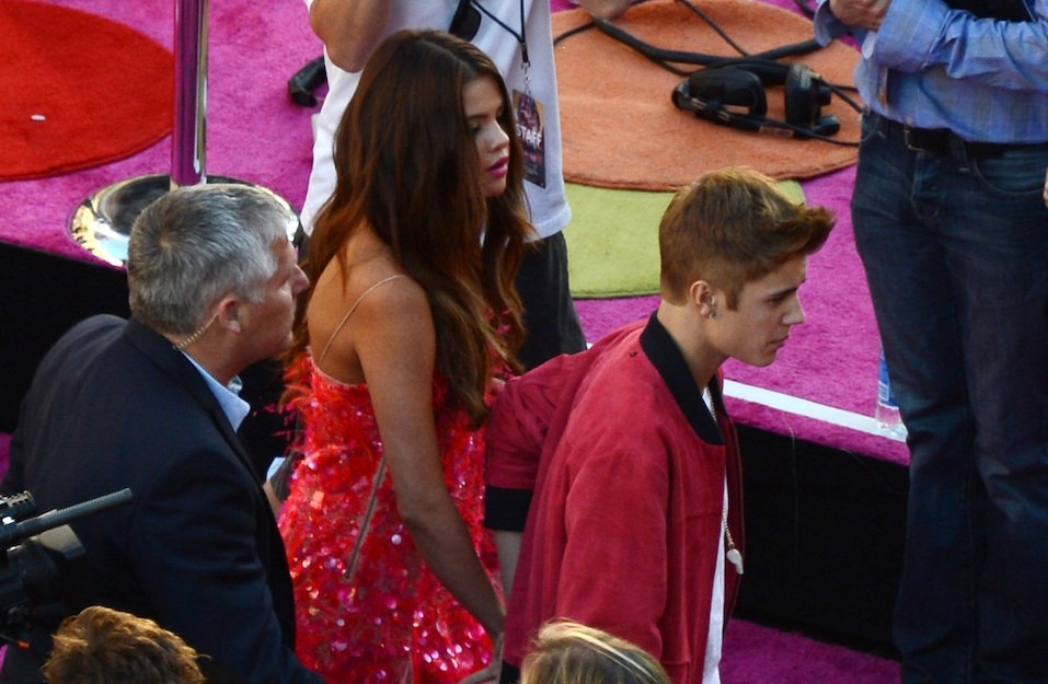 """Justin Bieber and Selena Gomez arrive for the premiere of """"Katy Perry: Part Of Me"""" at Grauman's Chinese Theatre"""