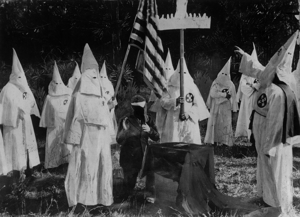 Members of American white supremacist secret society athe Ku Klux Klan