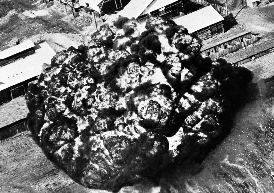 A picture taken on May 18, 1951 during Korean War shows a napalm bomb launched by the UN Air Force on a North Korean factory