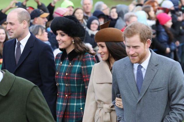 Prince William, Kate Middleton Meaghan Markle and Prince Harry walking together.