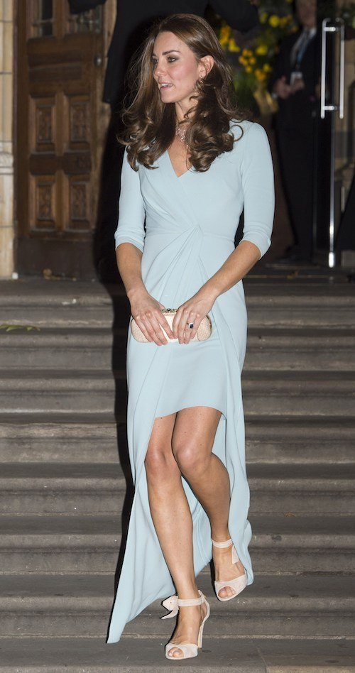 Kate Middleton climbing down a set of stairs.