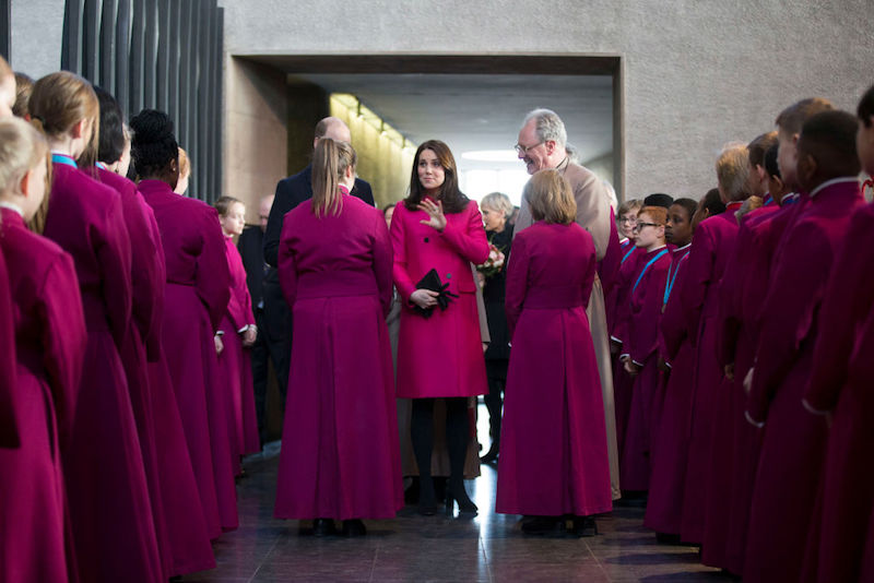 Catherine, Duchess of Cambridge and Prince William, Duke of Cambridge meet the chorister after The Coventry Litany of Reconciliation at Coventry Cathedral during their visit to the city on January 16, 2018 in Coventry, England.
