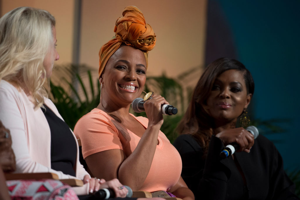 Kim Fields speaks during the Women in Hollywood panel