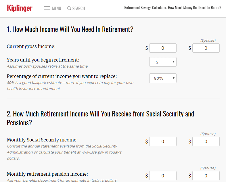 Kiplinger Retirement Calculator