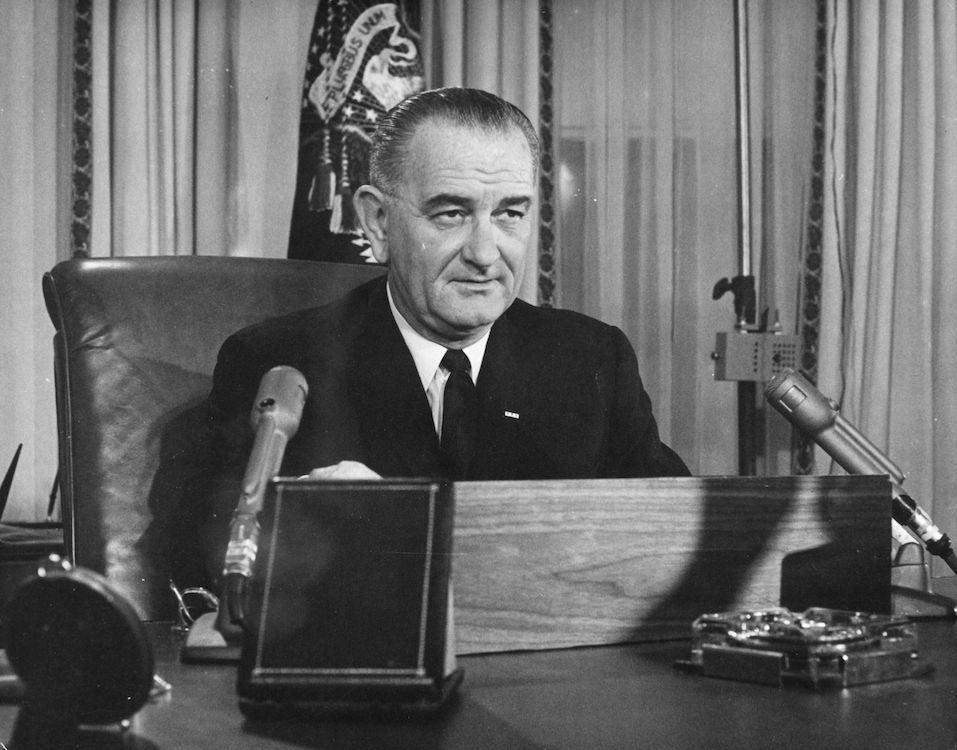 American President Lyndon Baines Johnson addresses the nation on his first thanksgiving day television programme