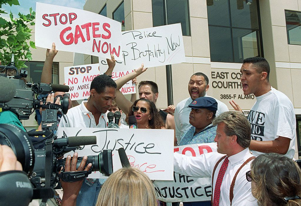 05 May 1992 in Simi Valley, to protest the verdict in the trial of the four police officers who were acquitted in the Rodney King case
