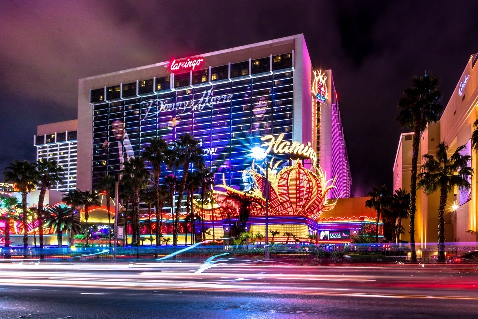 Las Vegas Strip and Flamingo Hotel Casino at night