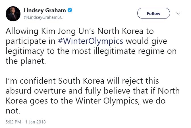 Lindsey Graham Tweet North Korea Olympics