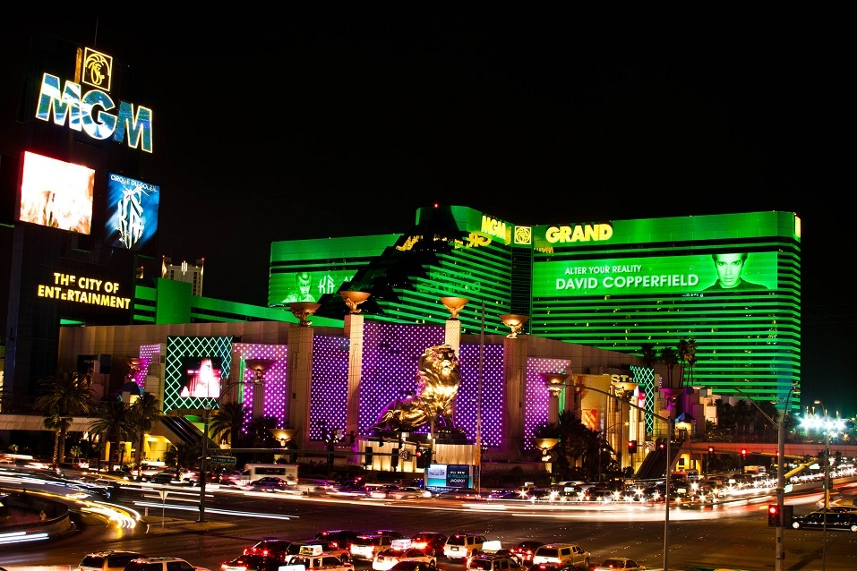 MGM Grand hotel & casino in Las Vegas at night