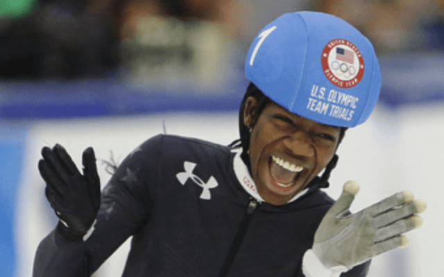 Maame Biney cheering in the rink.