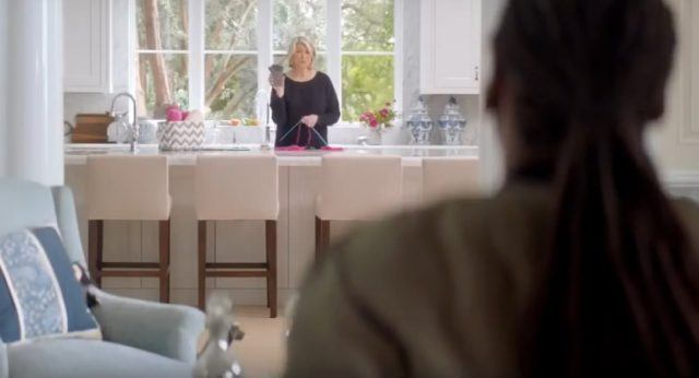 Martha Stewart in a kitchen commercial