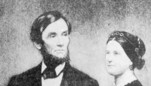 Mary Todd Lincoln and Abraham Lincoln in a portrait.