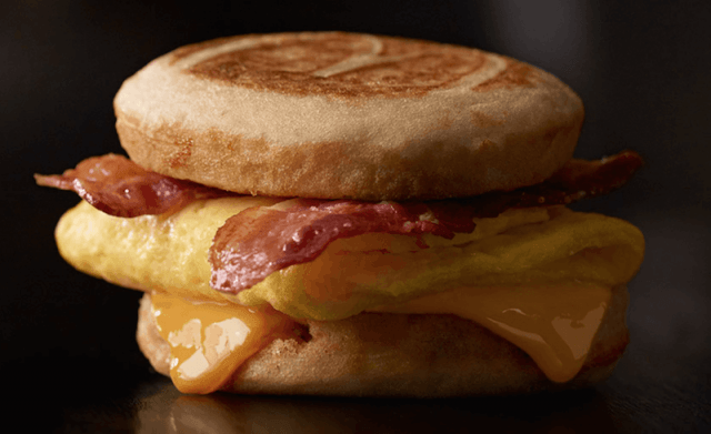A McGriddle on a table.
