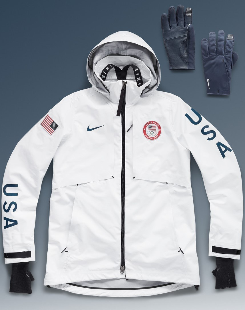 Olympics Medal Stand outfit by Nike close up of gloves and jacket