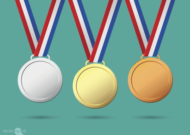 Silver, bronze and gold medals illustration.