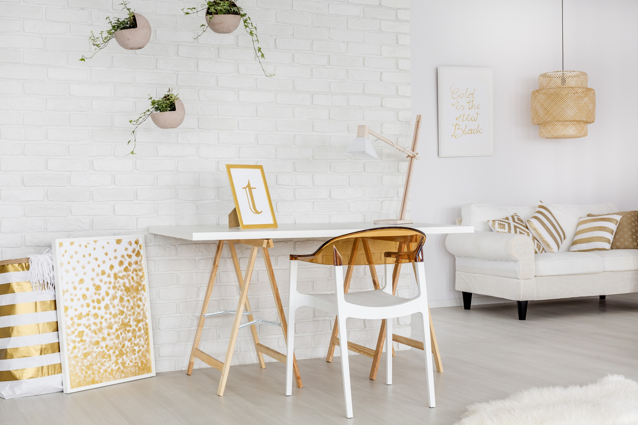 White and gold apartment desk and living room