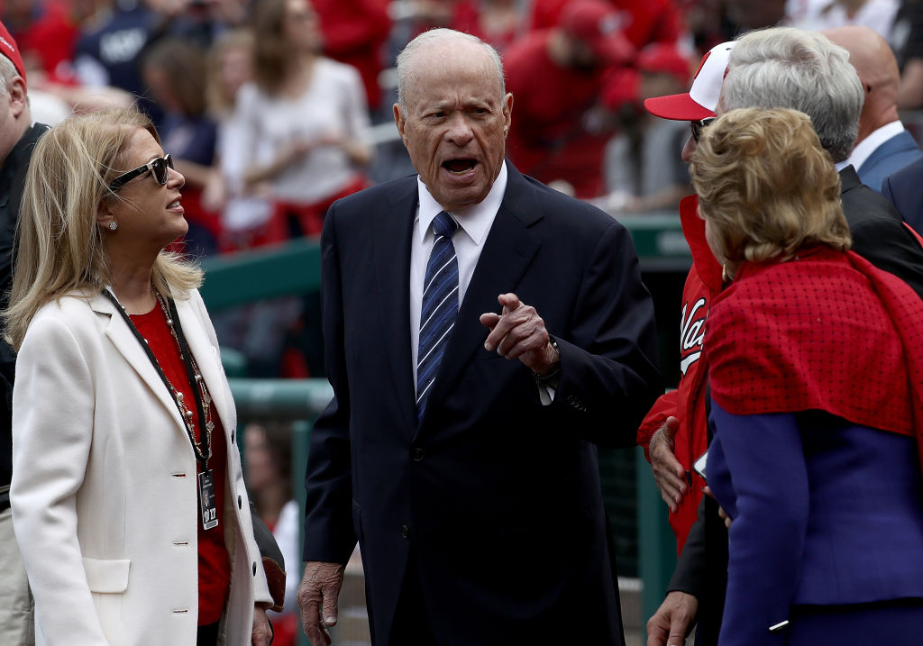 Washington Nationals owner Ted Lerner speaks with family members before the start of the Opening Day game