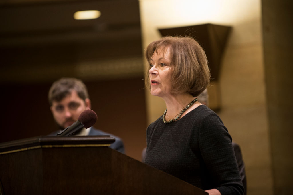Minnesota Lt. Governor Tina Smith fields questions after being named the replacement to Sen. Al Franken by Governor Mark Dayton
