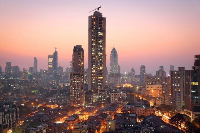 Panoramic view of south central Mumbai at golden hour (dusk)