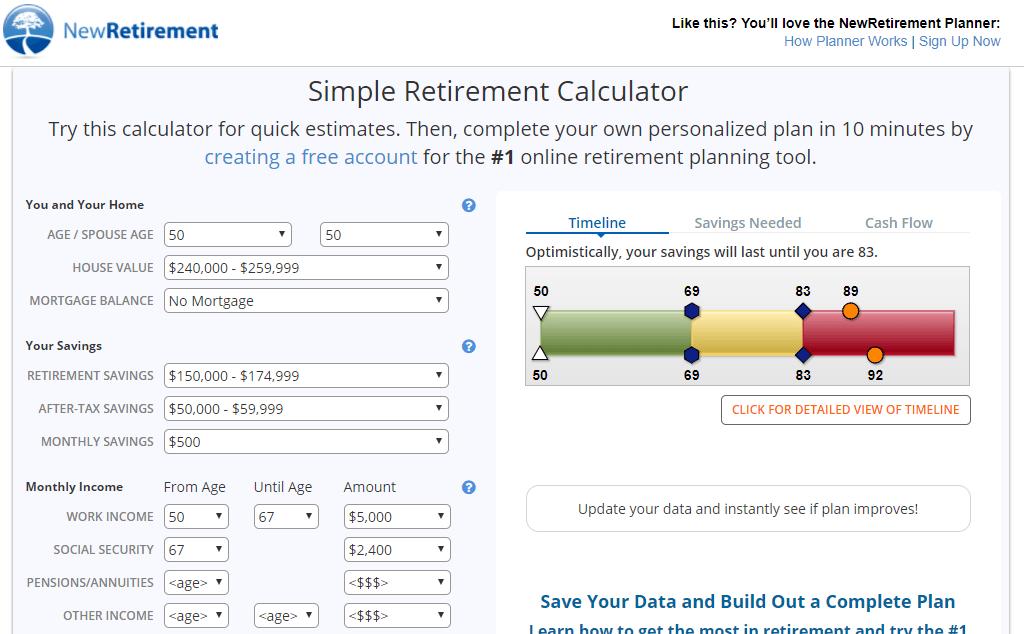 New Retirement Calculator