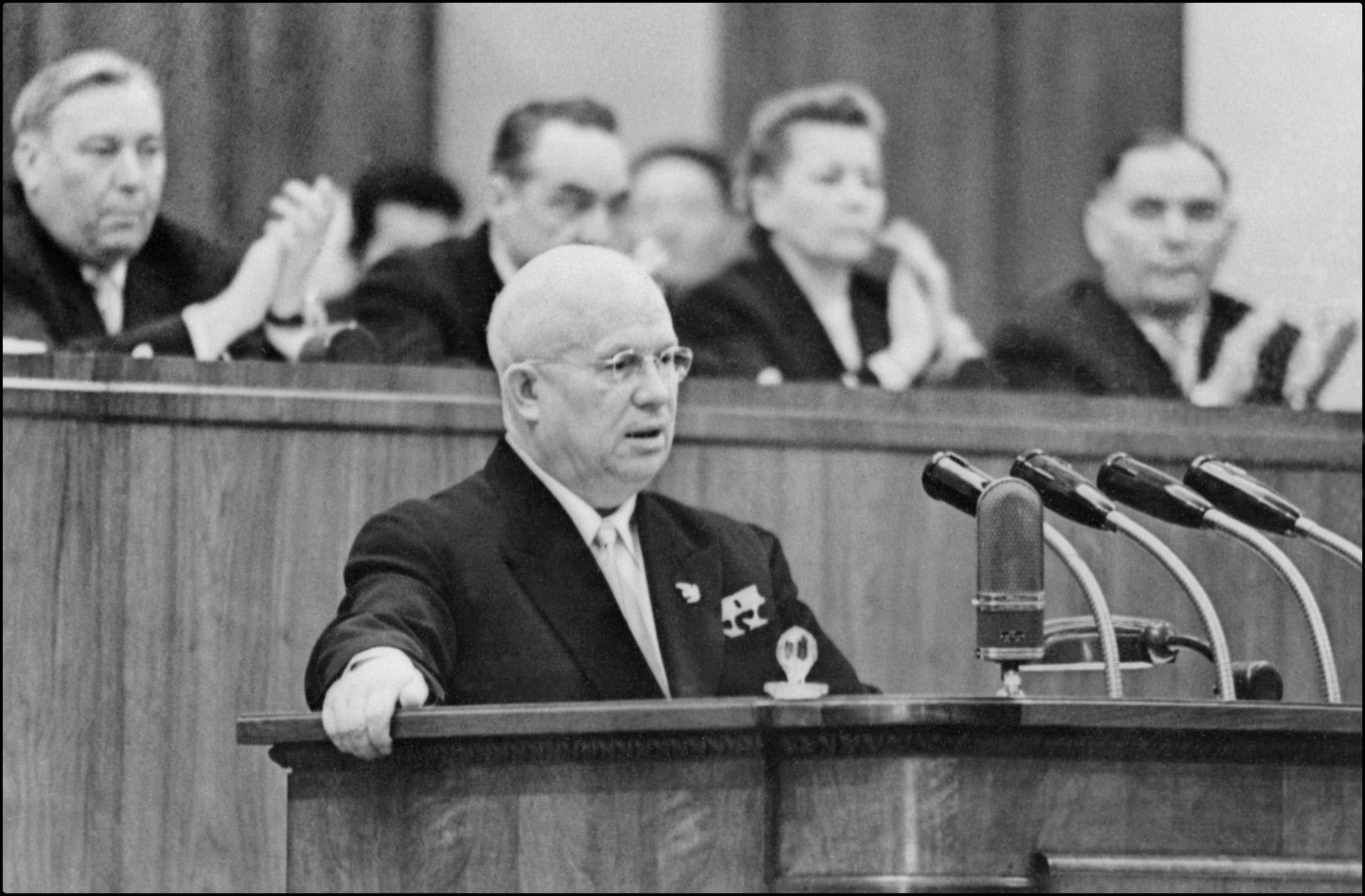 Nikita Sergeyevich Khrushchev addresses in February