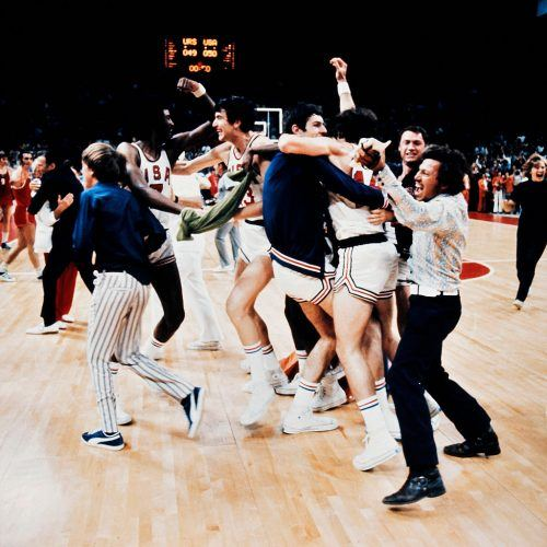 The US basketball players jubilate on September 09, 1972 for a short moment as they mistakenly celebrate what they thought was a victory