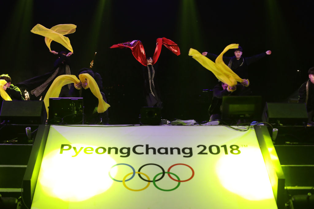 South Korean artists perform on stage during the PyeongChang 2018 Winter Olympic Games torch relay