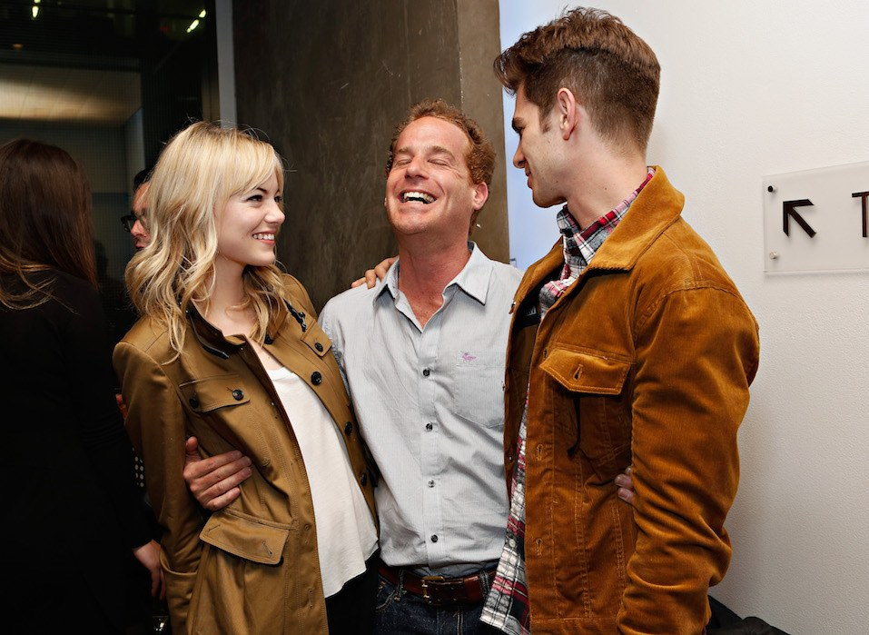 Actors Emma Stone, Adam James and Andrew Garfield attend the Opening Night Of The US Premiere Of 'BULL At Brits' Off Broadway