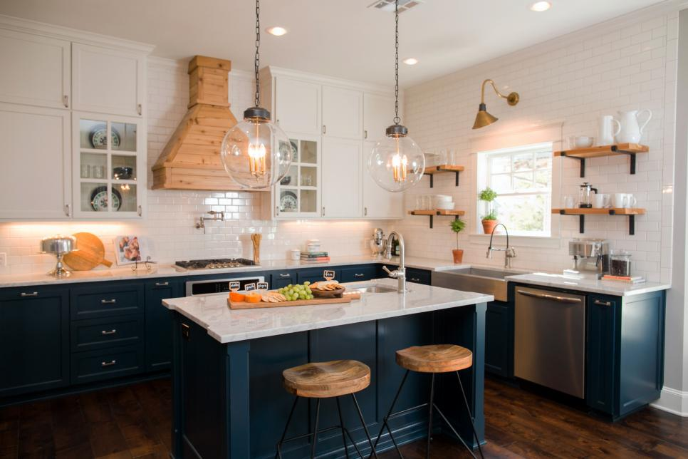 Ornate range hood on fixer upper kitchen