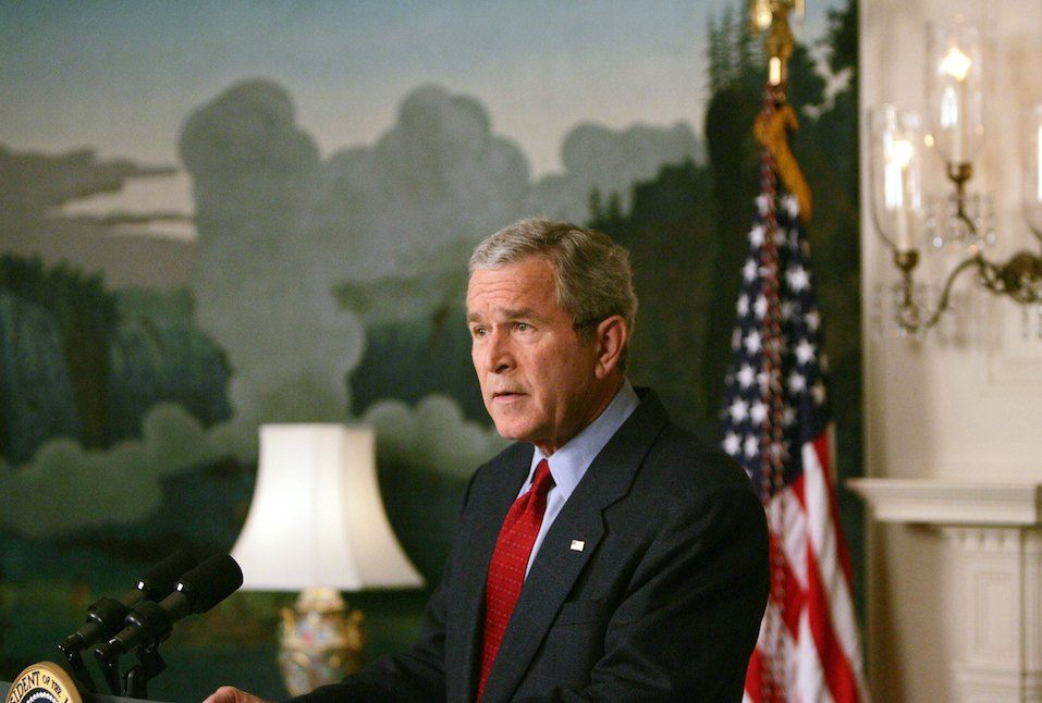 US President George W. Bush makes a statement on North Korea in the Diplomatic Reception Room of the White House