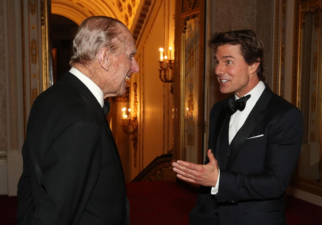 Prince Philip, Duke of Edinburgh and Tom Cruise meet during a dinner to mark the 75th anniversary of the Outward Bound Trust